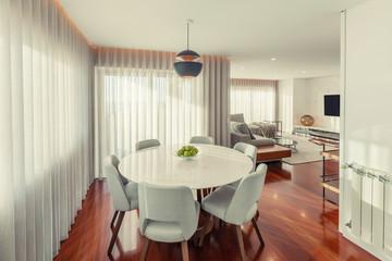 Modern kitchen in living room interior