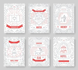 Canada thin line brochure cards set. Country traditional template of flyear, magazines, posters, book cover, banners. Architecture outline invitation concept background. Layout quality modern pages