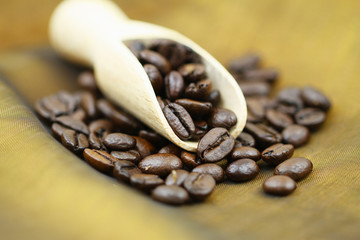 Roasted coffee beans on wooden scoop, shallow DOF