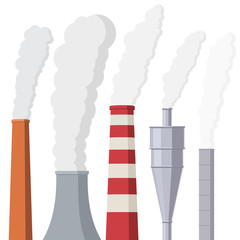 Factory or power plants pipes set pollute the air. Smoke from the pipes. Vector illustration in flat style design isolated on white background
