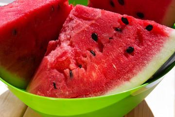 Watermelon in a green bowl