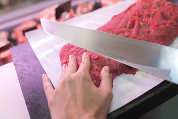 cutting a red meat