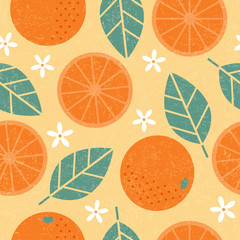 Seamless pattern. Orange juicy fruits leaves and flowers on shabby background.