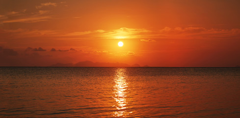 Orange red sunset in the sea on Koh Samui