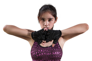 Portrait of young beautiful fitness girl wearing gloves and ready for gym exercise