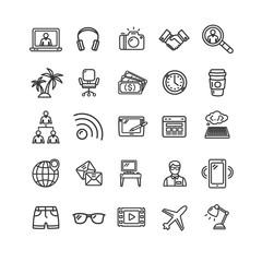 Freelance Signs Black Thin Line Icon Set. Vector