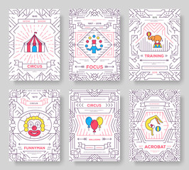 circus thin line brochure cards set. Festival traditional template of flyear, magazines, posters, book cover, banners. Devices outline invitation concept background. Layout quality modern pages
