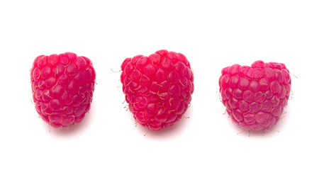 Fresh Red Raspberries Isolated on a White Background