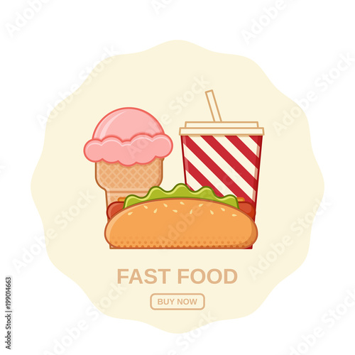 Hot Dog Ice Cream And Soda Vector Fast Food Icons Set