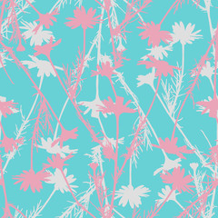 Floral seamless pastel pattern with camomile silhouettes.
