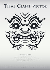 Thai Giant vector poster concept. illustrator eps 10 giant face and text caption.