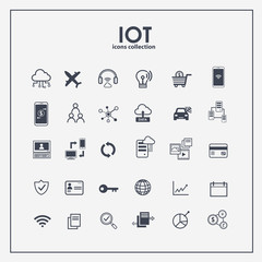 Internet of things icon set. Symbols for IOT with flat outline minimal design.