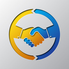 Paper art of the handshake icon. Vector illustration.