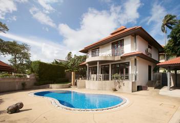 Swimming pool  in luxury villa interior