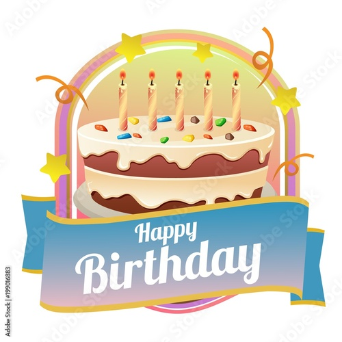 Happy Birthday Badge Theme With Big Cake