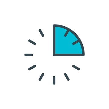 15 minutes, quarter flat vector icon. Modern simple isolated sign. Pixel perfect vector  illustration for logo, website, mobile app and other designs