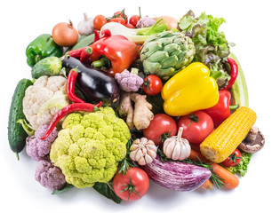 Group of colorful vegetables on white background. Close-up.