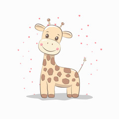 Cute vector illustration with giraffe baby for baby wear and invitation card.