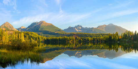 Wall Mural - high resolution panorama of a mountain lake in the Tatra Mountains, Strbske Pleso, Slovakia