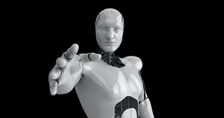 Humanoid futuristic male robot reaching out. 3D Render