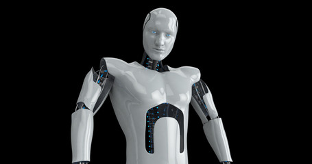 Humanoid futuristic male robot. 3D Render
