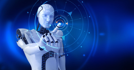 Humanoid male robot activating digital hud. 3D Render