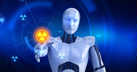 Humanoid robot touching on screen then nuclear symbols appears. 3D Render