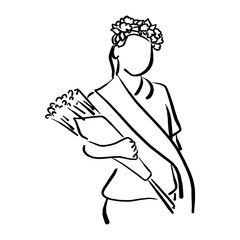 girl with flower crown and sash holding bouquet vector illustration sketch hand drawn with black lines isolated on white background