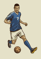 soccer player in hand drawing vintage style