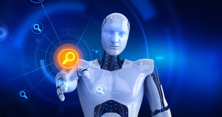 Humanoid robot touching on screen then search symbols appears. 3D Render