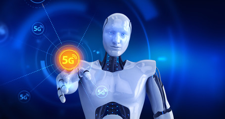 Humanoid robot touching on screen then high speed 5G symbols appears. 3D Render