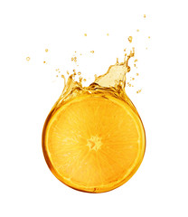 Fototapete - Slice of orange is drowned in splashes of juice isolated on white background