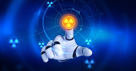 Robot hand touching on screen then nuclear symbols appears. 3D Render