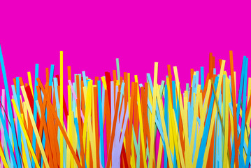 Stripes of quilling paper on a bright pink background.