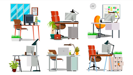 Office Workplace Interior Set Vector. Interior Of The Office Room, Creative Developer Studio. PC, Computer, Laptop. Trendy Office Desk Isolated Flat Illustration