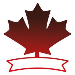 maple leaf with ribbon vector illustration design