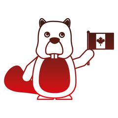 beaver with canadian flag vector illustration design
