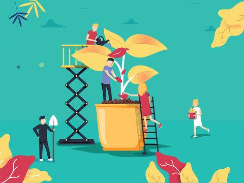 vector illustration. people grow plants in pots. phytomodule for domestic farming. creative design eco-garden concept