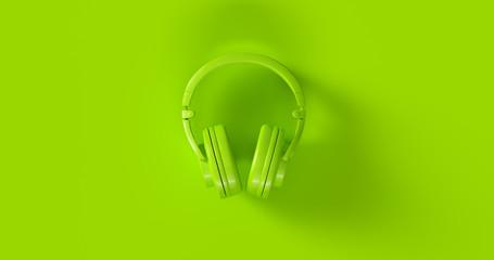 Green Headphones 3d illustration Wall mural