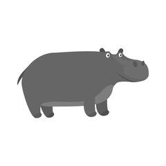 Cute cartoon gray fat smiling hippo character. Childish flat illustration of big hippopotamus for kids book design, stickers, educational and fun games, print