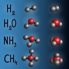 Chemical formula and molecule model of hydrogen , water,  ammonia,  methane on dark blue background