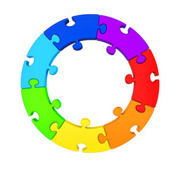 Seven Puzzle Pieces Circle Isolated