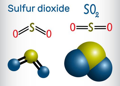 Sulfur dioxide (sulphur dioxide, SO2) molecule. Structural chemical formula and molecule model