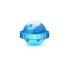 Earth day ECO emblem, world environment day concept, slogan of words on ribbon, translucent plastic blue 3d ball in the form of planet Earth with continents