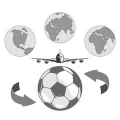soccer ball and a stylized image of the globe. flies a large passenger plane. isolate on white background.