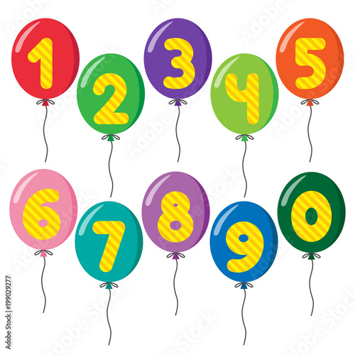 set of colorful balloons on strings with numbers fotolia com の