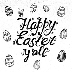 happy Easter Hand drawn lettering with eggs and rabbit ears. design for holiday greeting card and invitation of the happy Easter day