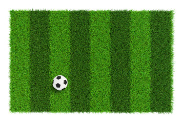 Striped soccer field texture with soccer ball, background with copy space top view - isolated on white background