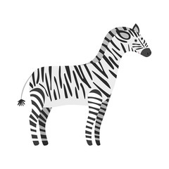 Cute cartoon black and white smiling zebra. Childish flat illustration of striped zebra character for kids book design, stickers, educational and fun games, print