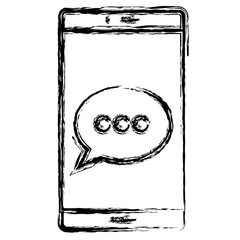 smartphone device with speech bubble vector illustration design